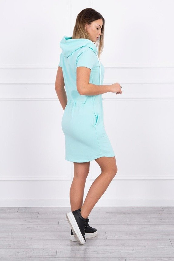 Tied dress with hood mint