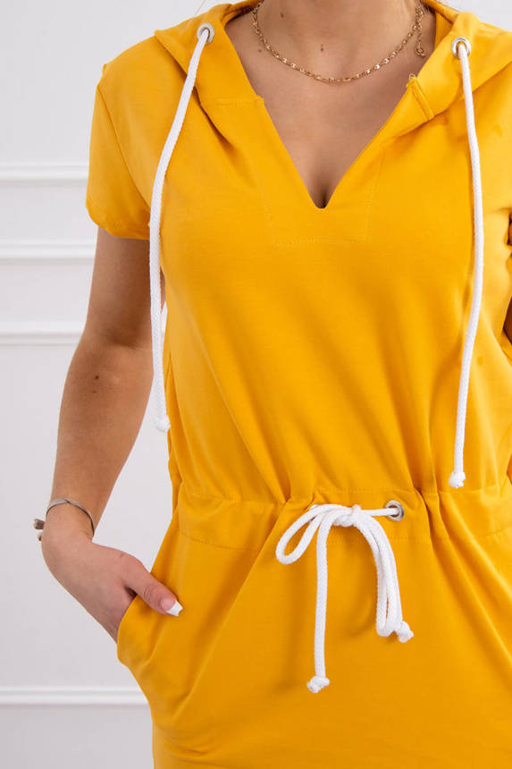 Tied dress with hood mustard