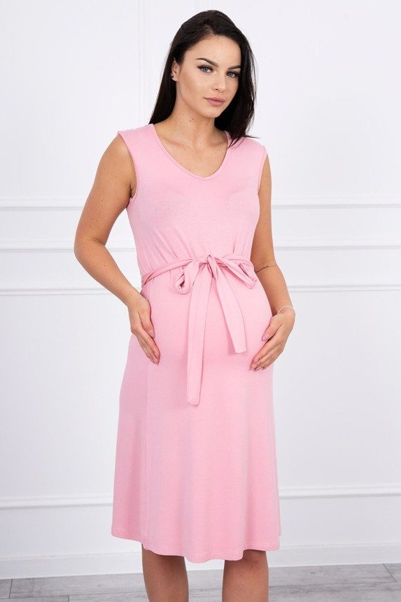 Trapezoidal dress tied at the waist powdered pink