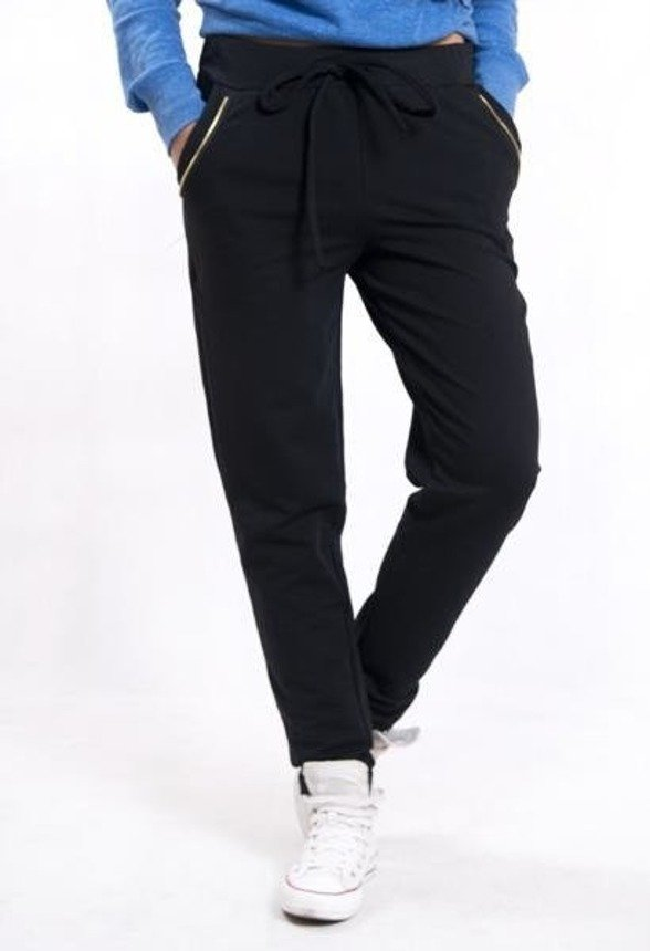 Trousers with a rope and zips, black