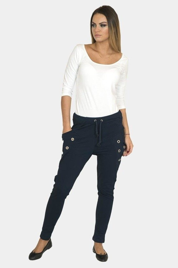 Trousers with metal applications at pockets, navy-blue