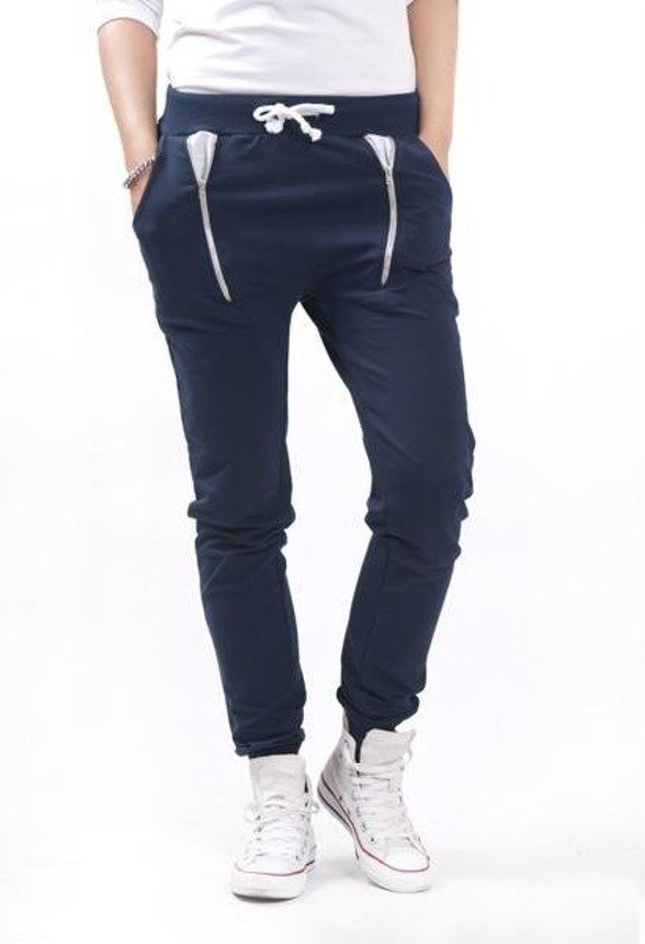 Trousers with zips at the front, black