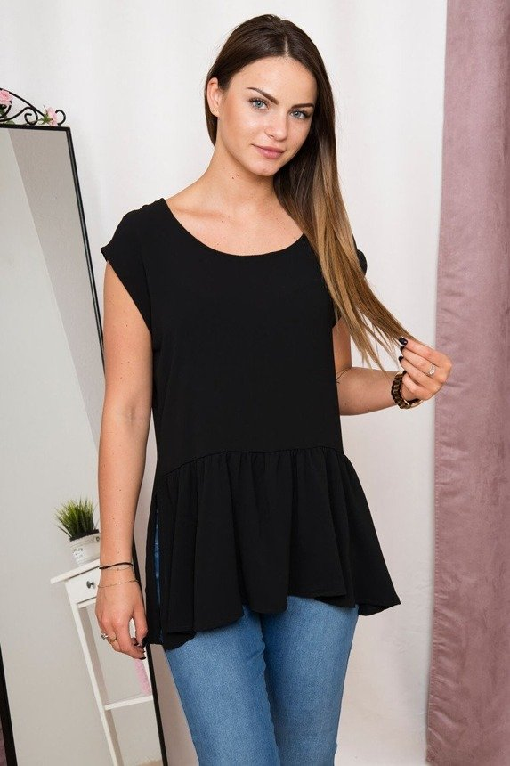 Tunic with a frill black