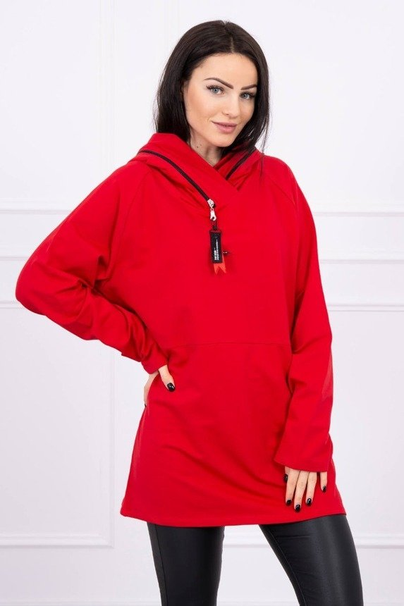 Tunic with a zipper on the hood Oversize red