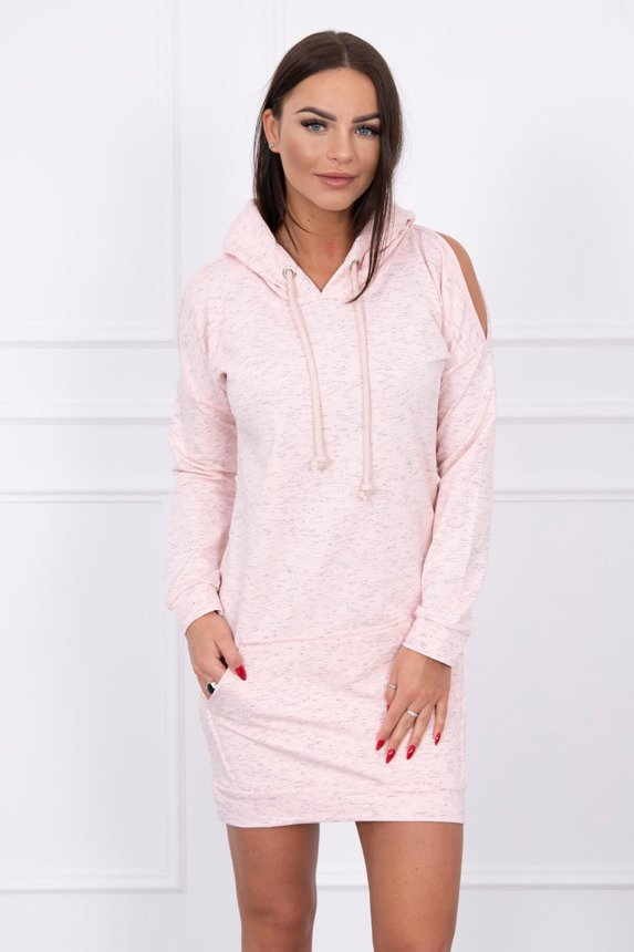 Tunic with hood powdered pink