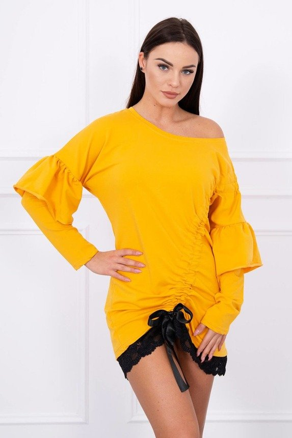 Tunic with lace mustard