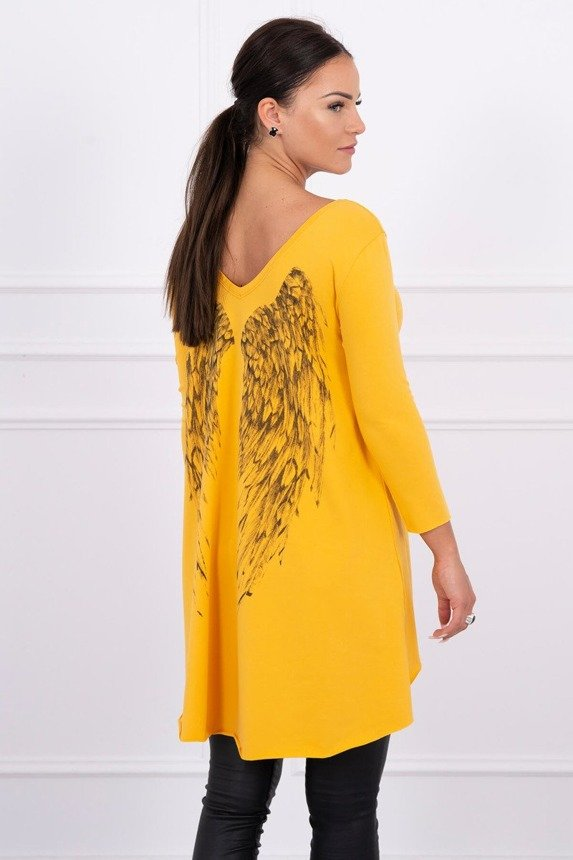 Tunic with wings print mustard