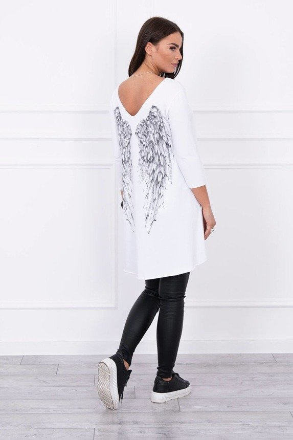 Tunic with wings print white