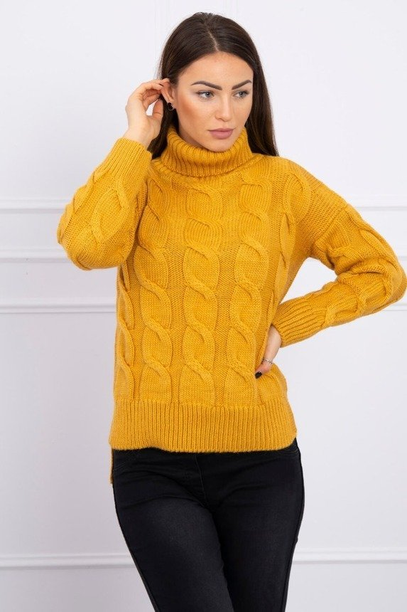 Turtleneck sweater with longer back mustard