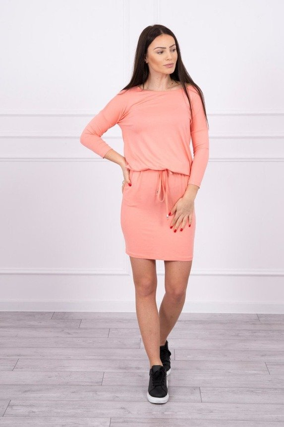 Viscose dress tied at the waist  apricot
