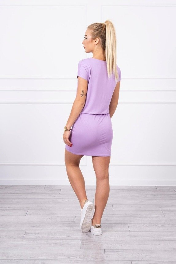 Viscose dress tied at the waist with short sleeves purple