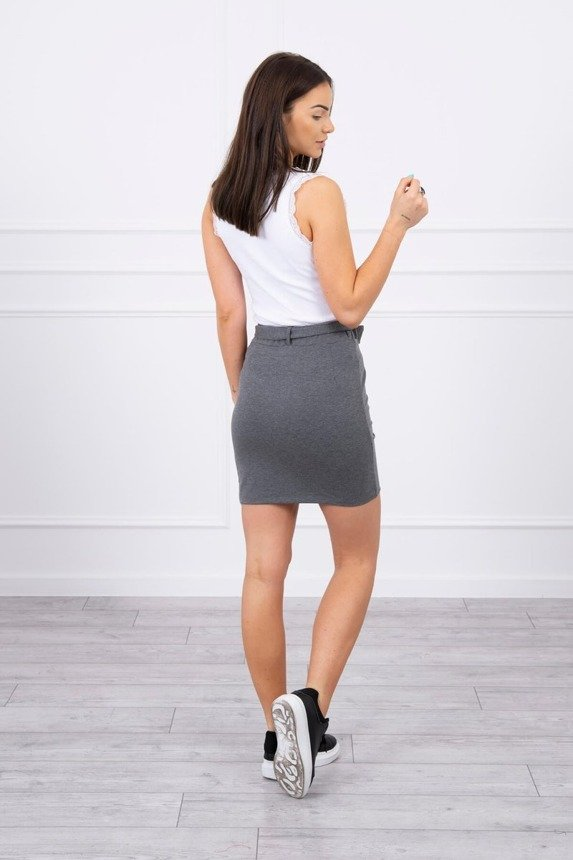 Wrap skirt tied at the waist graphite melange