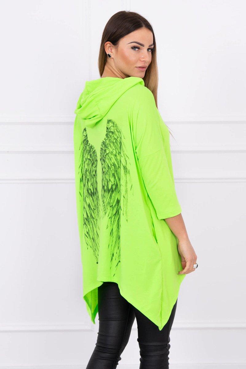 813c27601e48ae ... Bluza z nadrukiem skrzydeł zielony neon ...