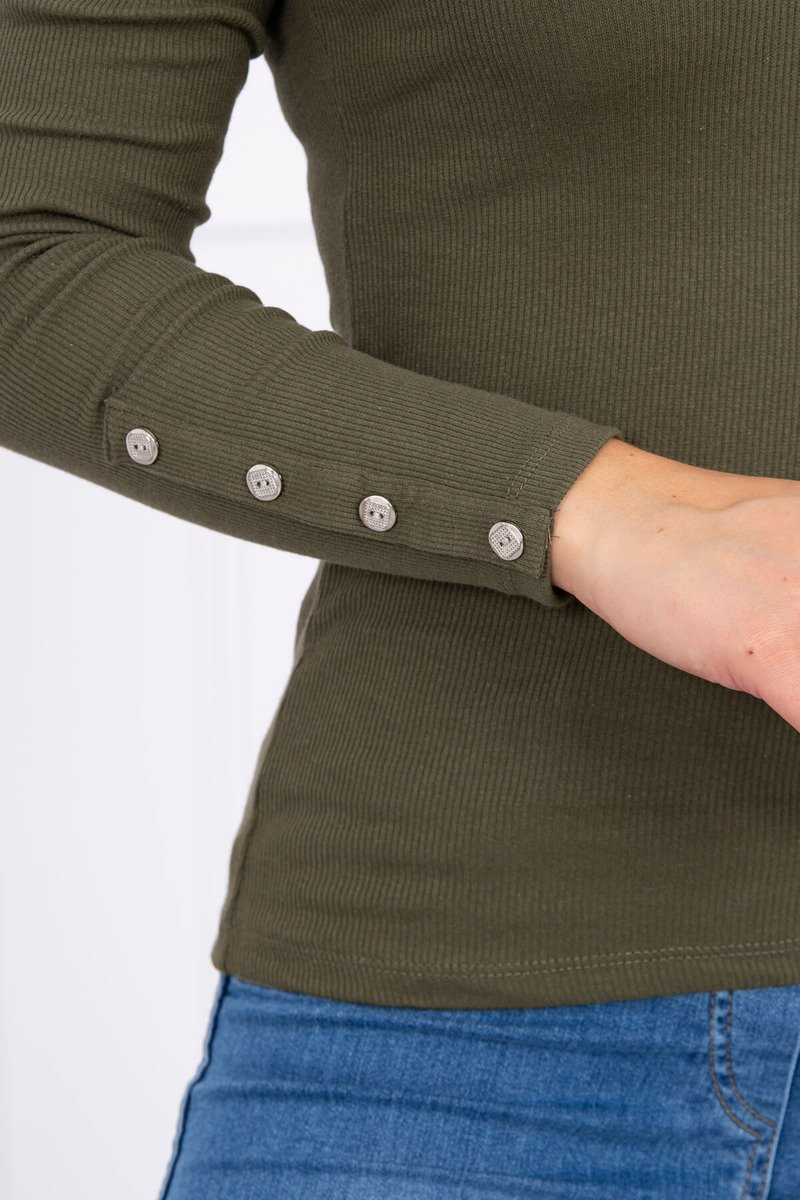 4abaee199c ... Bluzka z guzikami na rękawach khaki ...