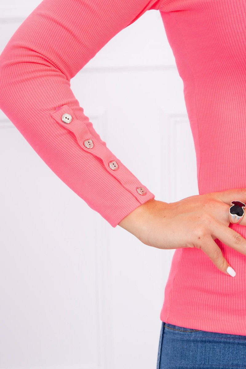 781045eae8 ... Bluzka z guzikami na rękawach różowy neon ...