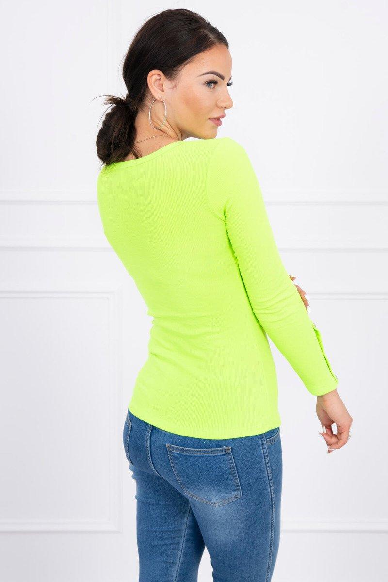 a813c9f3e2 ... Bluzka z guzikami na rękawach zielony neon ...
