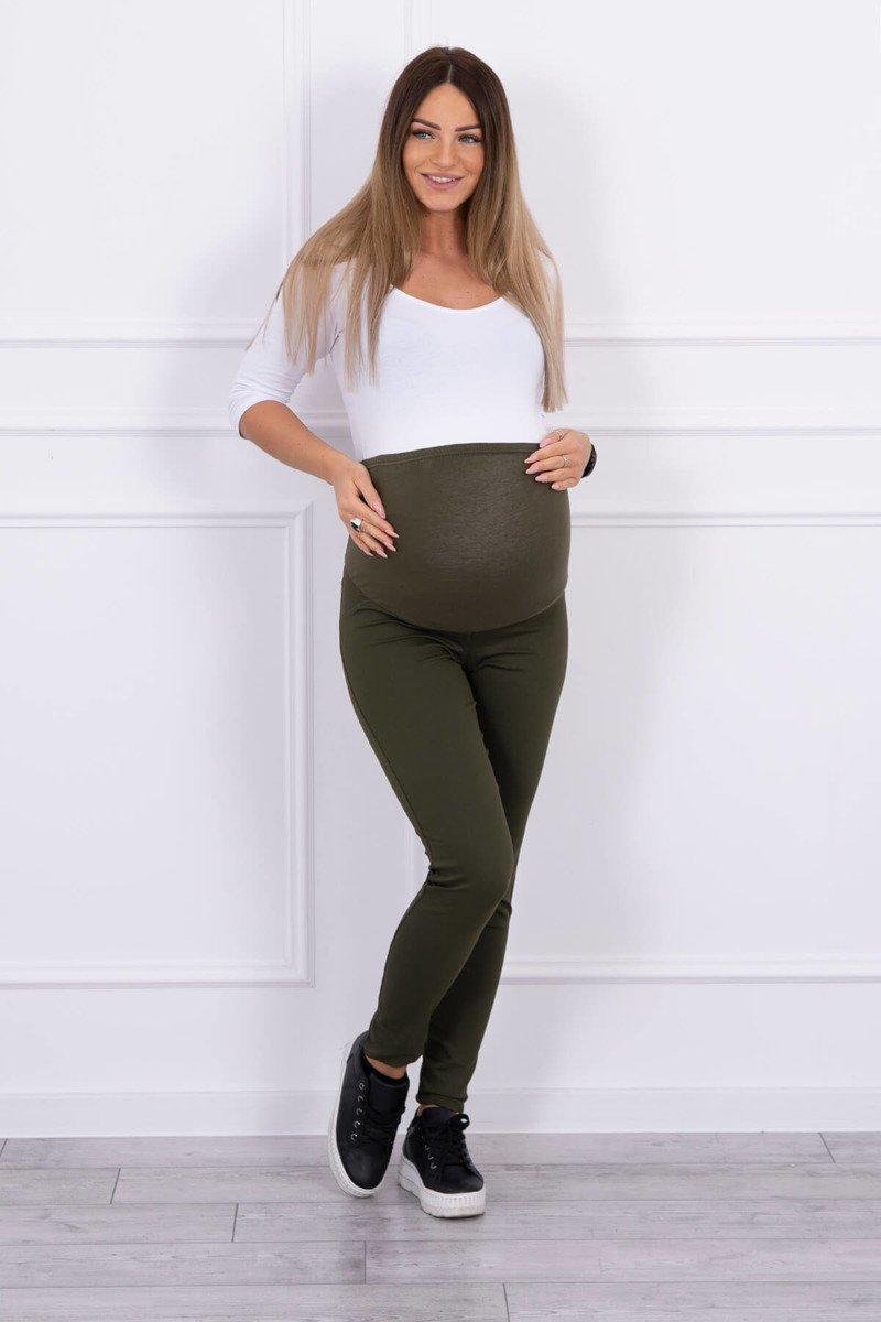 Spodnie ciążowe, kolorowy jeans khaki. Odzież jeansowa