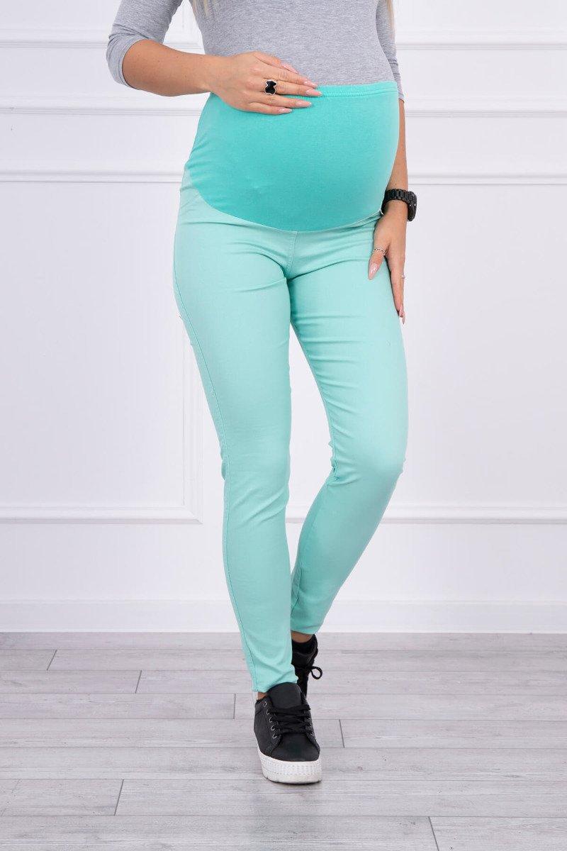 Spodnie ciążowe, kolorowy jeans miętowe. Odzież jeansowa