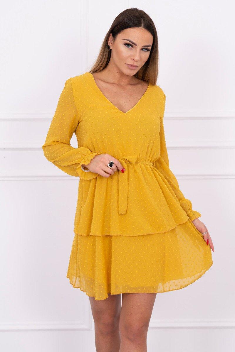 974902255a Sukienka rozkloszowana z teksturą musztardowa · Sukienka rozkloszowana z  teksturą musztardowa ...