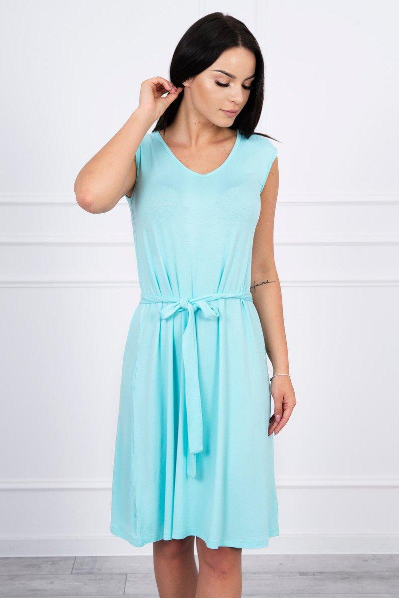 9c077b1dcd ... Sukienka trapezowa wiązana w pasie miętowa ...