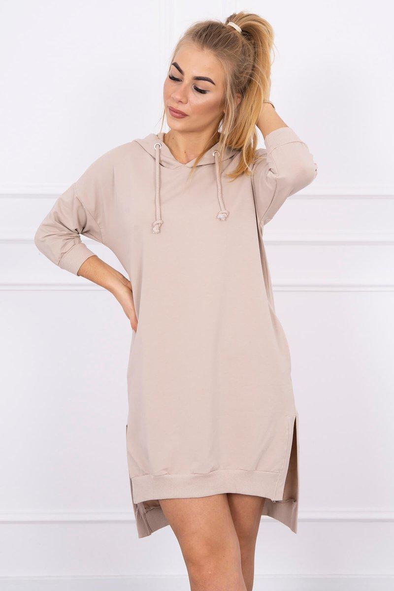 Sukienka z kapturem i dłuższym tyłem Plus Size beżowa