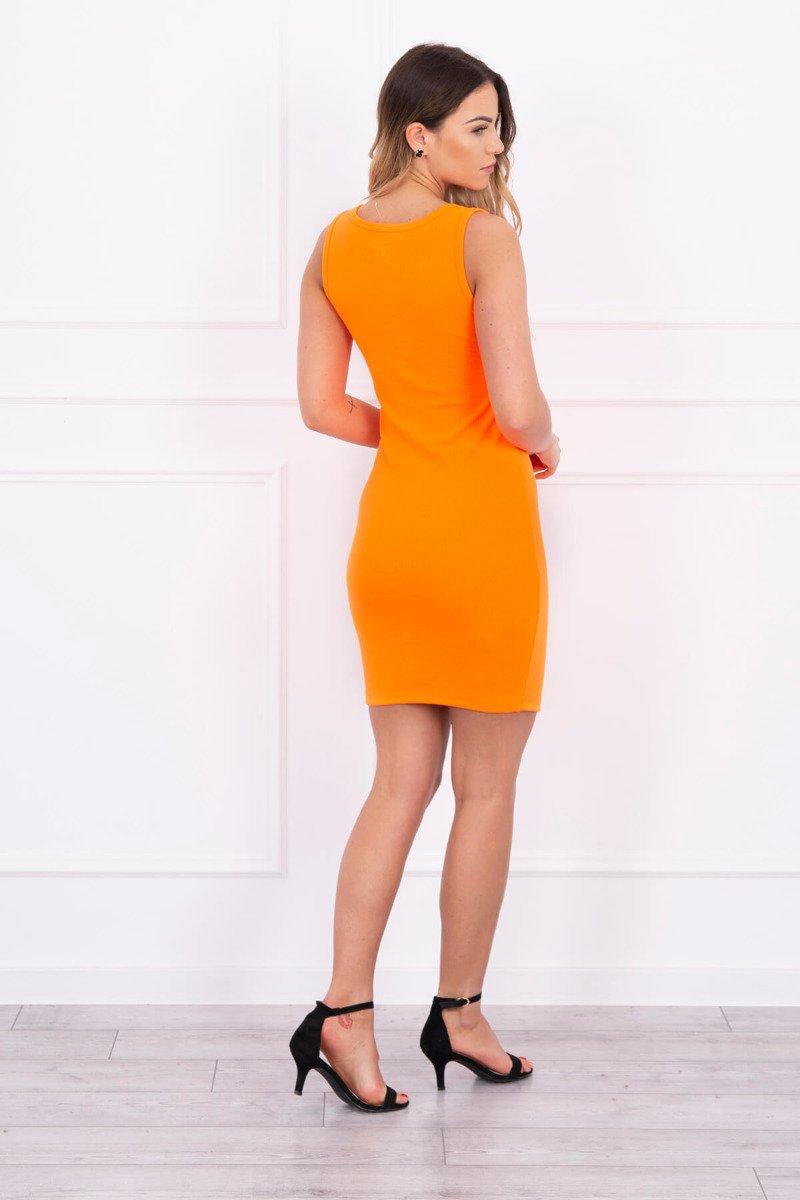 76eb7479c8 ... Sukienka z ozdobnym suwakiem na dekolcie pomarańczowy neon ...