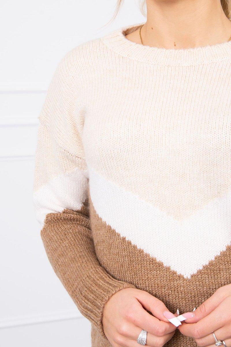 Sweter w geometryczne wzory beżowy+cappuccino