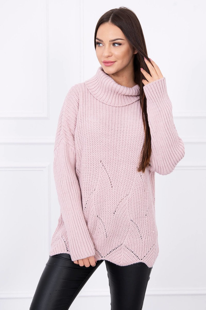 2f598dfaaa ... Sweter z falą pudrowy róż ...