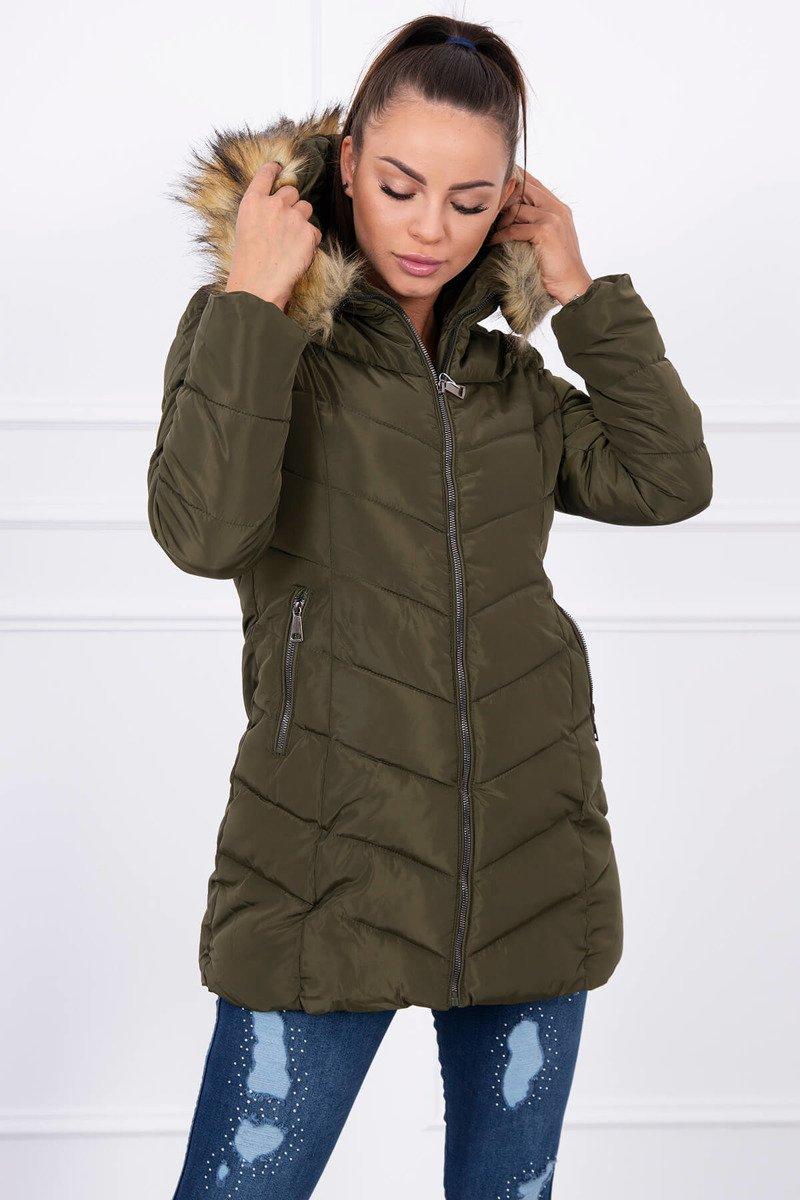 60ecb9619 Prešívaná bunda s kožušinou khaki; Prešívaná bunda s kožušinou khaki ...