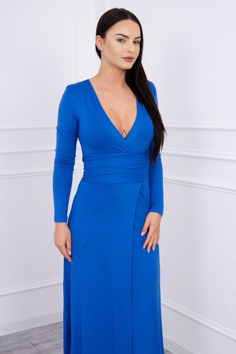 907f29140a2e Rovný šaty V-výstrih kráľovská modrá ...
