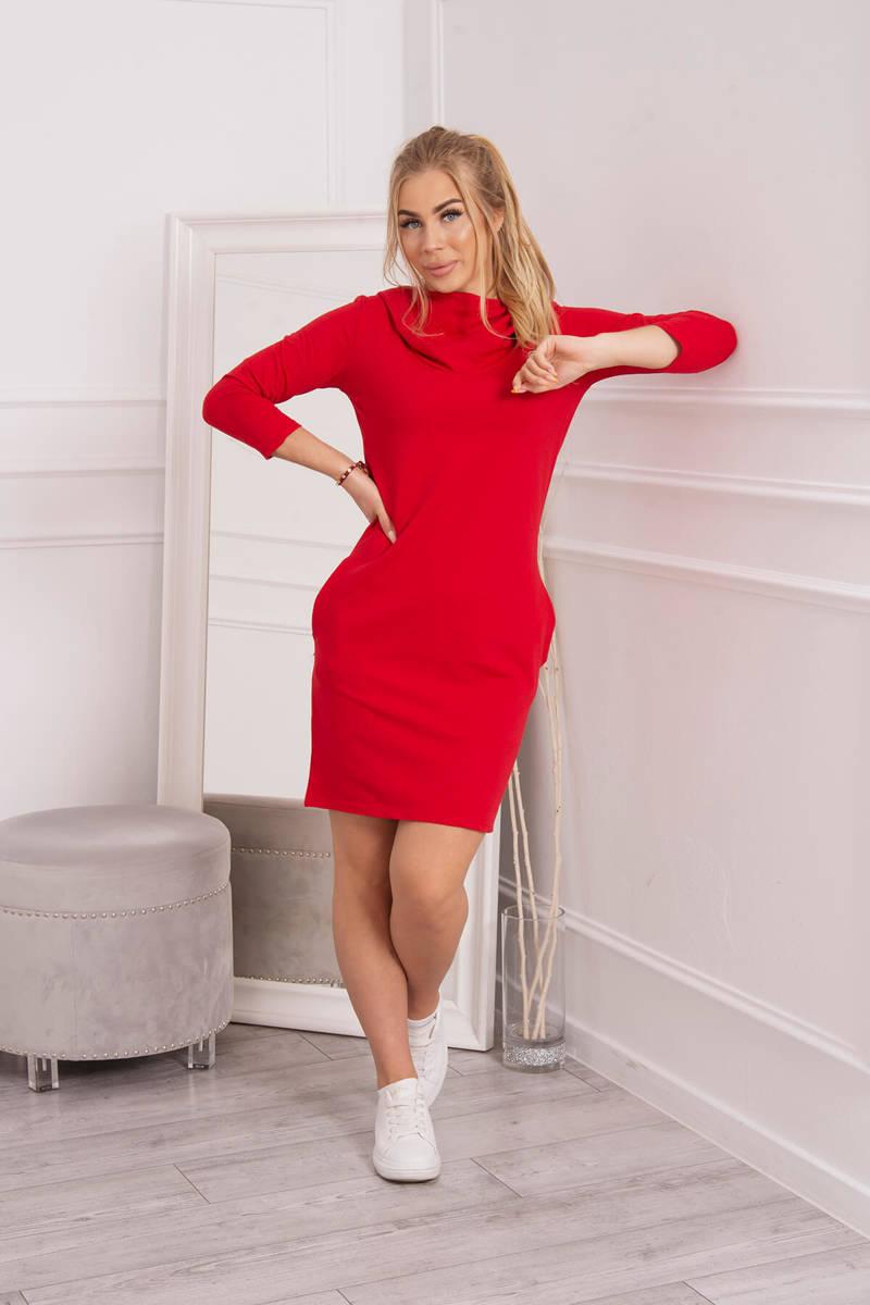 958149d05949 ... Šaty s kapucňou a vreckami červená ...