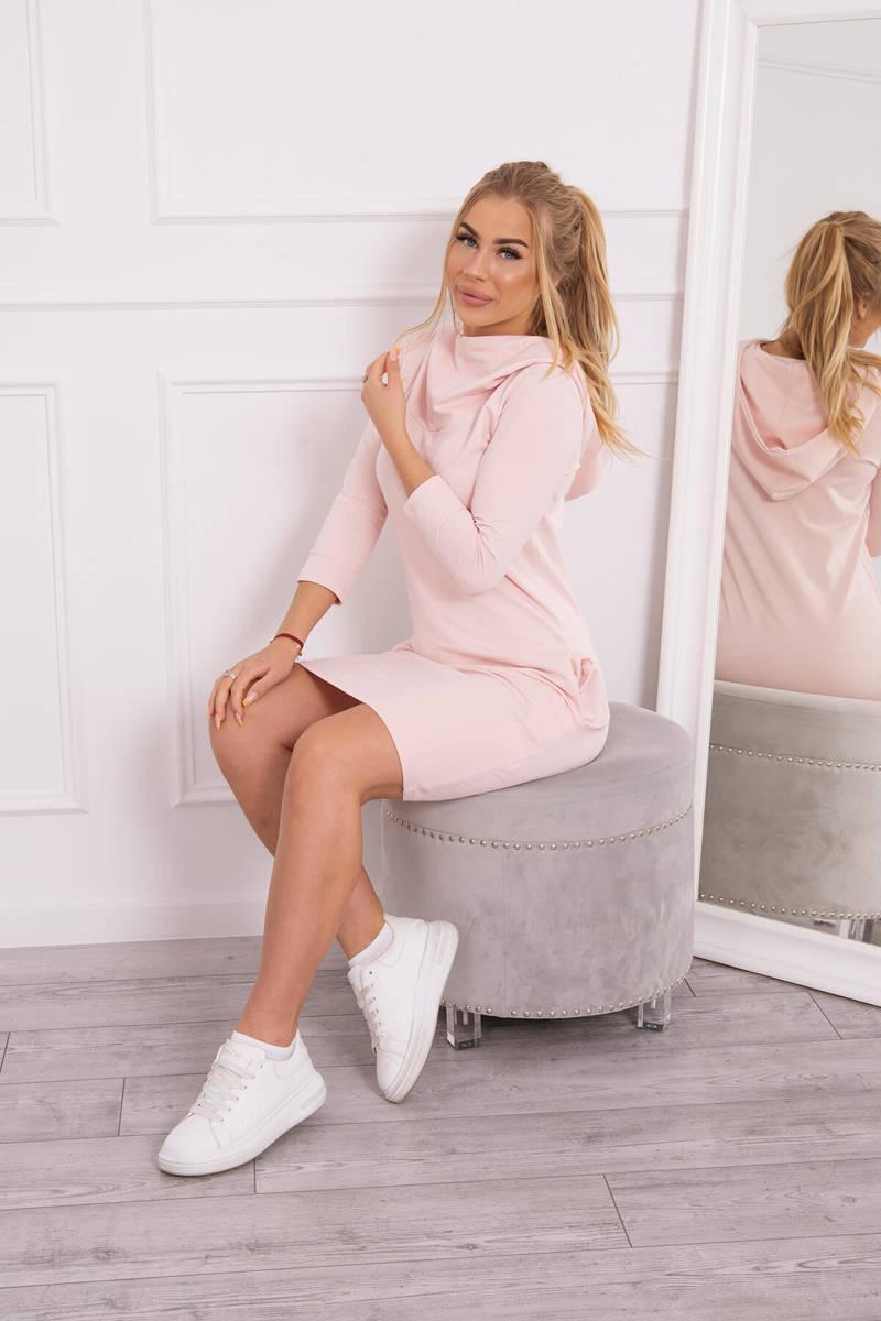 Šaty s kapucňou a vreckami prášková ružová ... e881ac120e