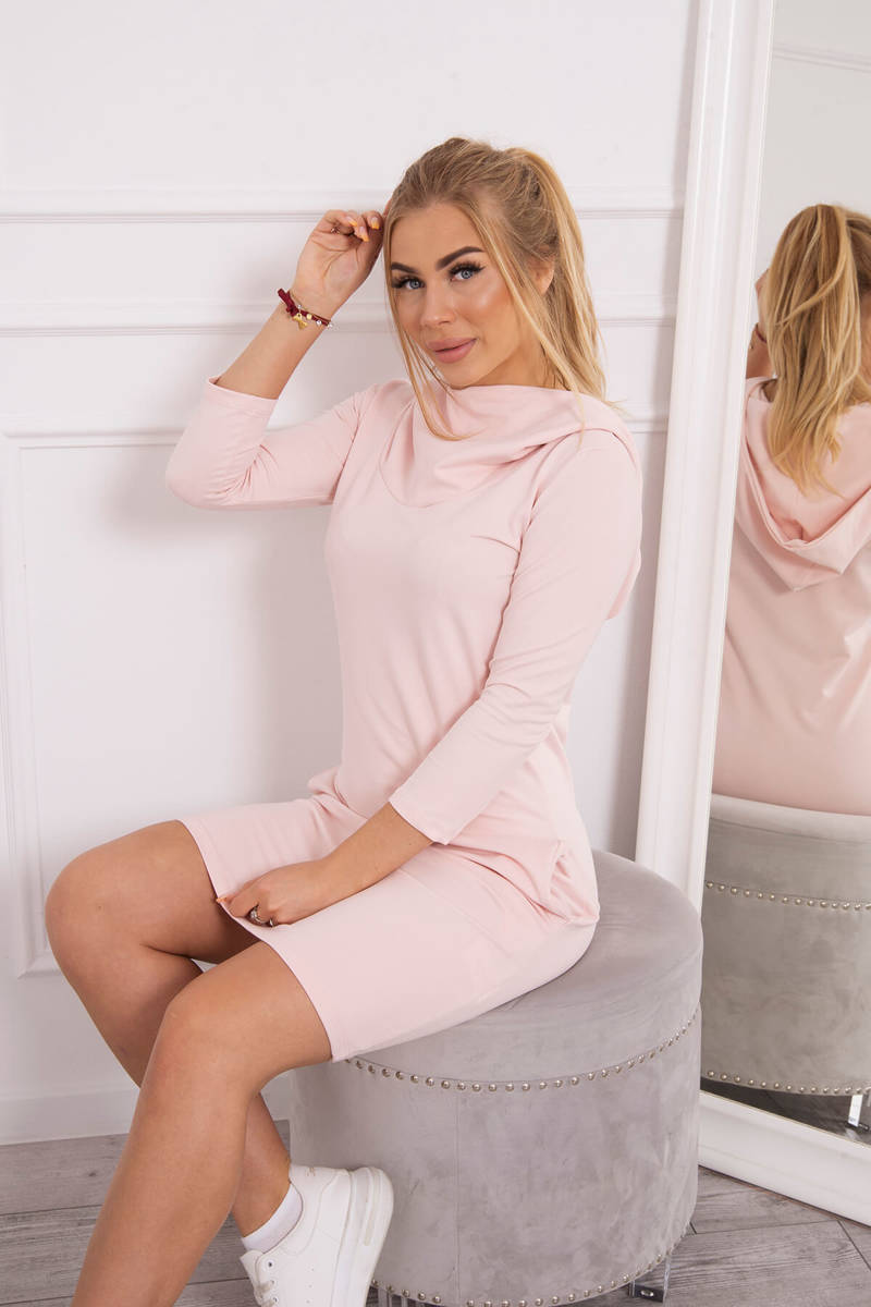 ... Šaty s kapucňou a vreckami prášková ružová ... 1dd80c09df
