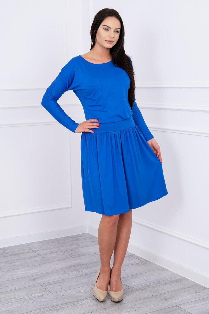 c5bca292fe8c Šaty s rozšírenou spodnou a vrecko kráľovská modrá ...