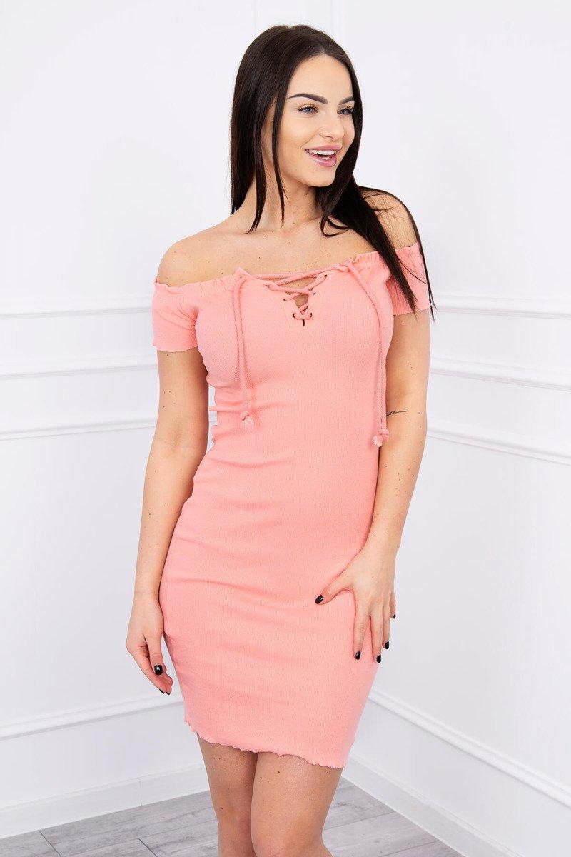 fbf46a25b414 Šaty vybavené viazaným výstrihom marhuľa  Šaty vybavené viazaným výstrihom  marhuľa ...
