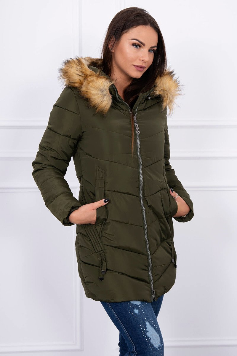 de908782a9 ... Zimná bunda s kožušinou khaki ...