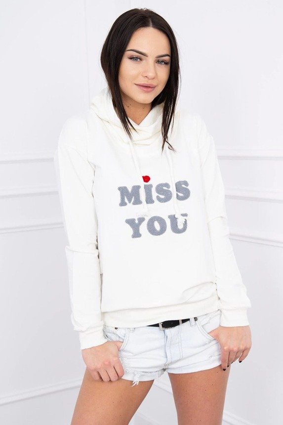 Bluza z kapturem Miss You ecru